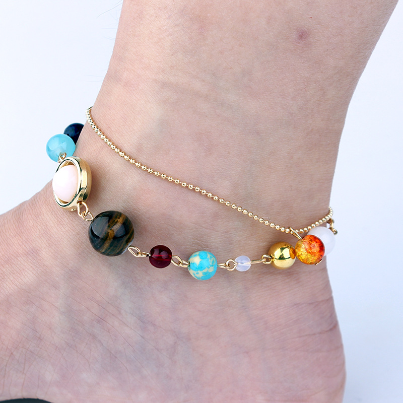 DIEZI One Piece Universe Galaxy the Eight Planets in the Solar System Guardian Star Natural Stone Beads Anklet for Women Men