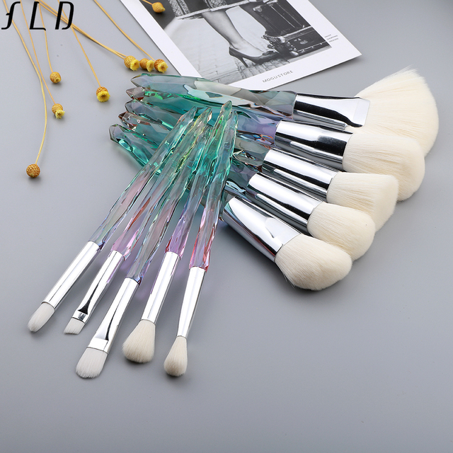 FLD 10Pcs Crystal Makeup Brushes Set Powder  5