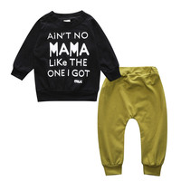 Autumn Newborn Baby Clothes Set MAMA LIKE Letter Print Top Green Pants 2pcs Kids Tracksuits For