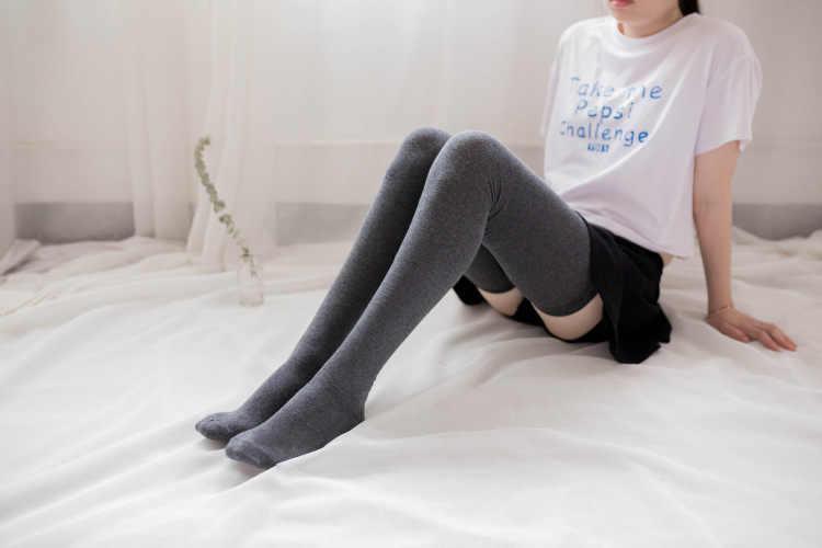 แฟชั่นผู้หญิงฝ้ายเข่าถุงเท้าต้นขาถุงน่องสูงถุงเท้ายาว
