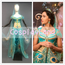 Princess Jasmine Costume Sexy Dress Halloween Cosplay Aladdin Outfit Peacock Embroidery Belly Dance Suit Crown