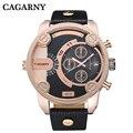 Reloj de los hombres de la marca de lujo famoso cagarny mens relojes de cuarzo correa de cuero relojes relogio masculino militar ocasional de los deportes