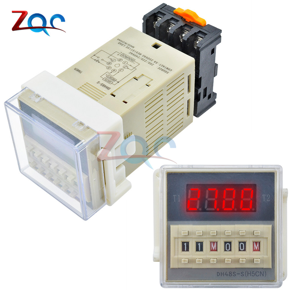 1 set AC 220V 14 Pins 4PDT 0-1S Timer Delay DIN Rail Time Relay H3Y-4 with Base