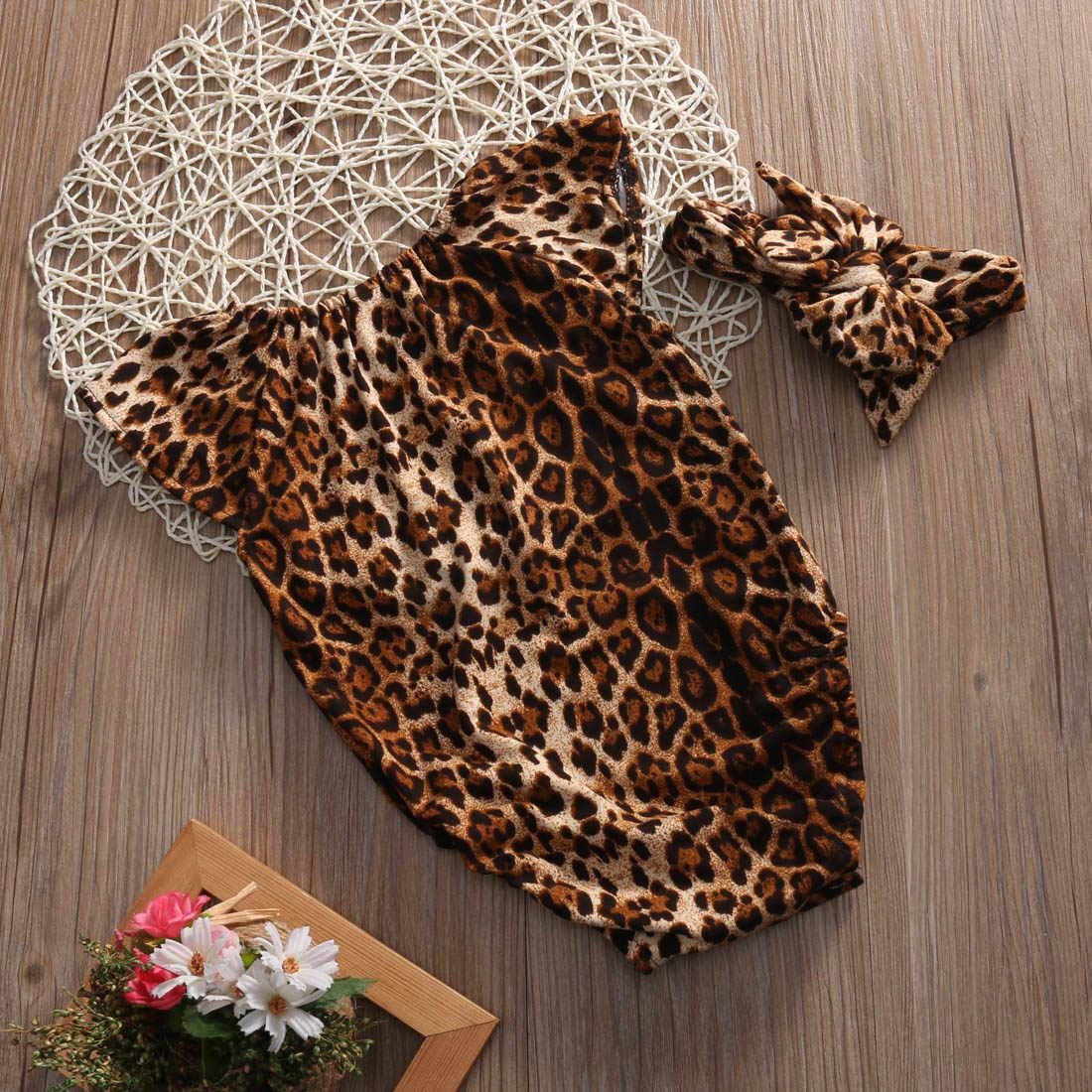 2017 Leopard для маленьких девочек Одежда для новорожденных для маленьких девочек с ползунки боди + повязка 2 шт. наряды комплект одежды для детей