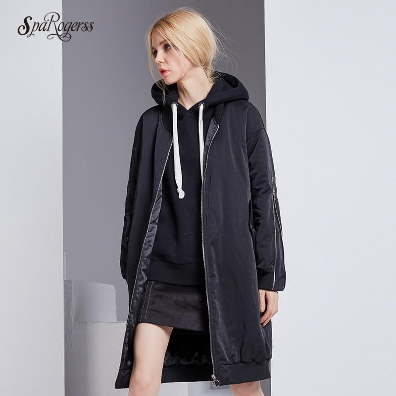 цены на SpaRogerss 2017 New Zipper Long Silk Cotton Hight Quality Winter Warm Parkas Black Coat Jacket Female Tops Outwear Coat в интернет-магазинах