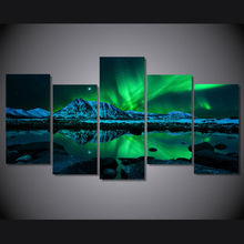 5 panel HD print Modern Home Decor wall art picture for living room beauty aurora Poster canvas Print painting on canvas F0012