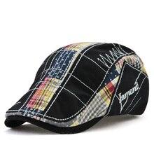 Новинка, повседневная кепка газетчика, необычный вышитый берет, клетчатая строчка, уличная Кепка с козырьком, Хлопковая мужская женская шапка высокого качества