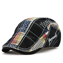 2018 novedad Casual Newsboy gorras Irregular bordado boina a cuadros  costura exterior sombrero delantero algodón hombres 406f74d33f2