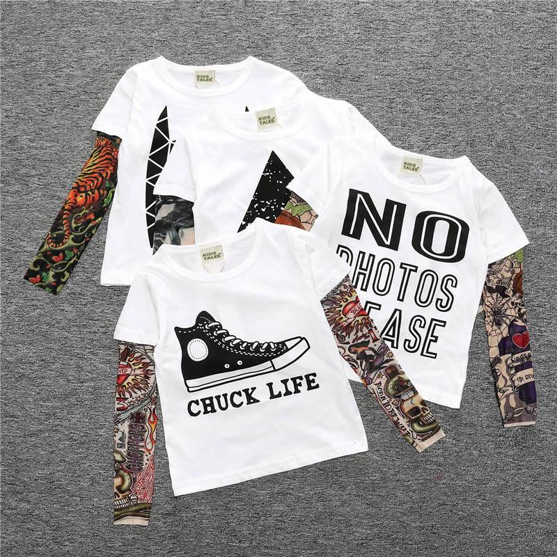 Novelty Tattoo Kids Boys T-Shirts Cotton Long Sleeve Children T Shirt Spring Autumn Baby Girls Tee Shirts Children Clothes 5