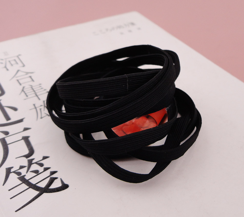 50PCS 6mm Black Wide flat Elastic Ponytail holders Hair bands with glue  connection bbc2be7f8e4
