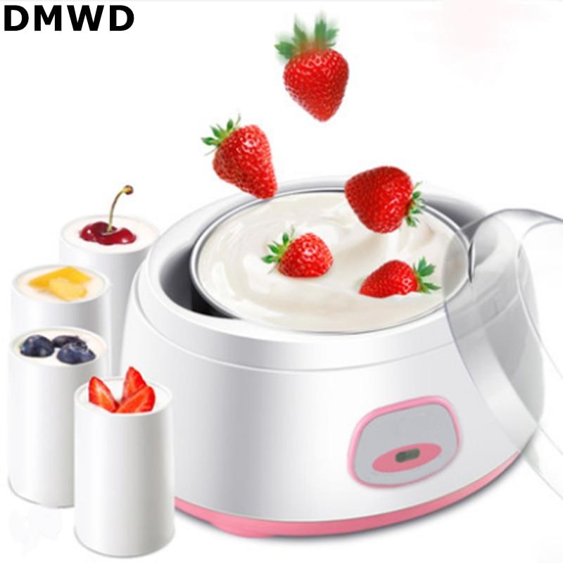 DMWD 220V/50Hz/15W 1000mL Electric Fully Automatic Yogurt Maker Machine Stainless Steel Inner Tank Mini Kithchen Appliance
