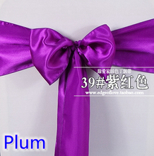 Eventsdecor Plum Colour Satin Bow For Chair Covers Sash