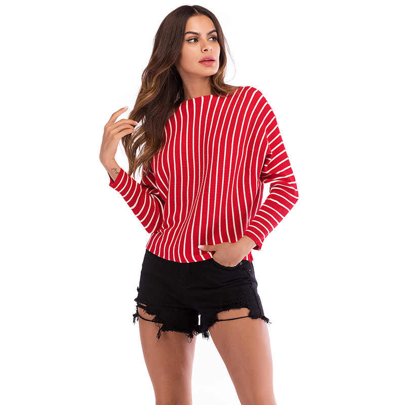 Striped Women Pullovers 2019 Autumn Knitted Sexy Casual Loose Top Blouses Female O-Neck Long Sleeve White Black Red Sweaters
