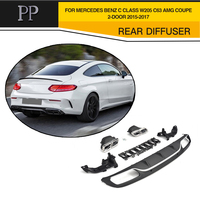 C Class PP Car Rear Bumper Diffuser With Exhaust Muffler For Mercedes Benz W205 C63 AMG Coupe 2 Door 2015 2017