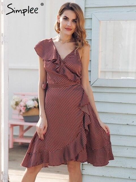 f067671714e Simplee Strap ruffle satin summer dress women 2018 Spring casual backless  midi dress Sash streetwear short dress female vestidos