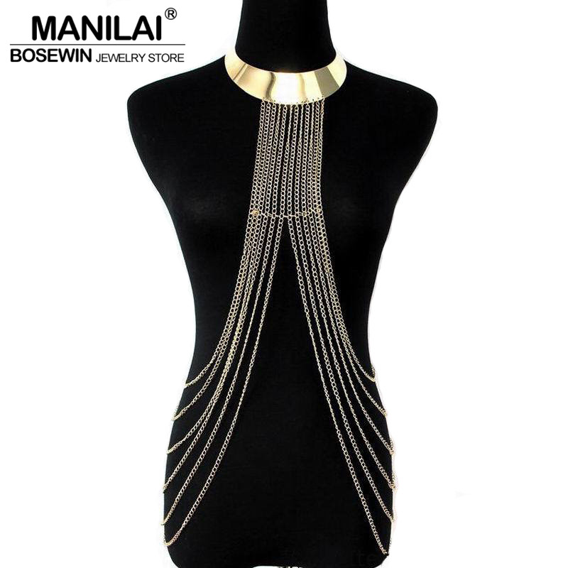 MANILAI Boho Style Beachy Alloy Collar Choker Chains Necklaces Pendants Women Statement Jewelry Long Tassel Fashion Accessories punk style butterfly chains choker