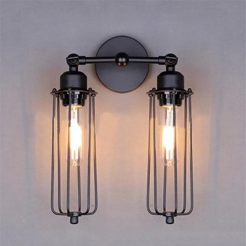 ФОТО American Retro Edison Wall Lamp for Corridor Hotel Cafe Bar Restaurant,2 Heads Metal Pomelo Cage Lampshade Vintage Wall Light