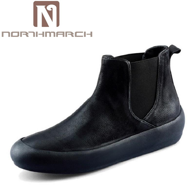 NORTHMARCH Men Leather Boots Brand Black Ankle Boots Genuine Leather Winter Shoes Botas Casual Dress Shoes Men Martin Boots justin bieber fear of god ankle boots 100% genuine leather kanye west boots men casual shoes fog platform botas knight boots