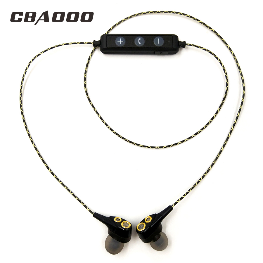 CBAOOO DT100 Bluetooth Wireless Earphones HIFI Sport Stereo Bass Earbuds 4 Speakers Headset In-Ear Bluetooth Earphone for phone