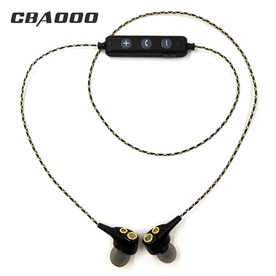 CBAOOO DT100 Bluetooth Wireless Earphones HIFI Sport Stereo Bass Earbuds 4 Speakers Headset In-Ear Bluetooth Earphone for phone