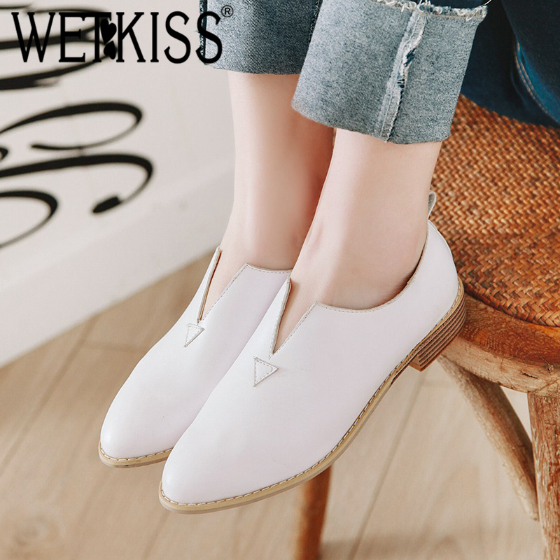 WETKISS Shoes Female Loafers Pumps Women Low-Heels Spring Pointed-Toe Plus-Size Casual