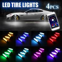4Pcs Car Flares RGB LED Light Wheel Eyebrow Phone APP Voice Control Car Lights Decorative Lamp