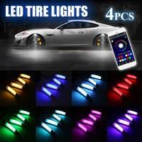4Pcs Car Flares RGB LED Light Wheel Eyebrow Phone APP Voice Control Car Lights Decorative Lamp