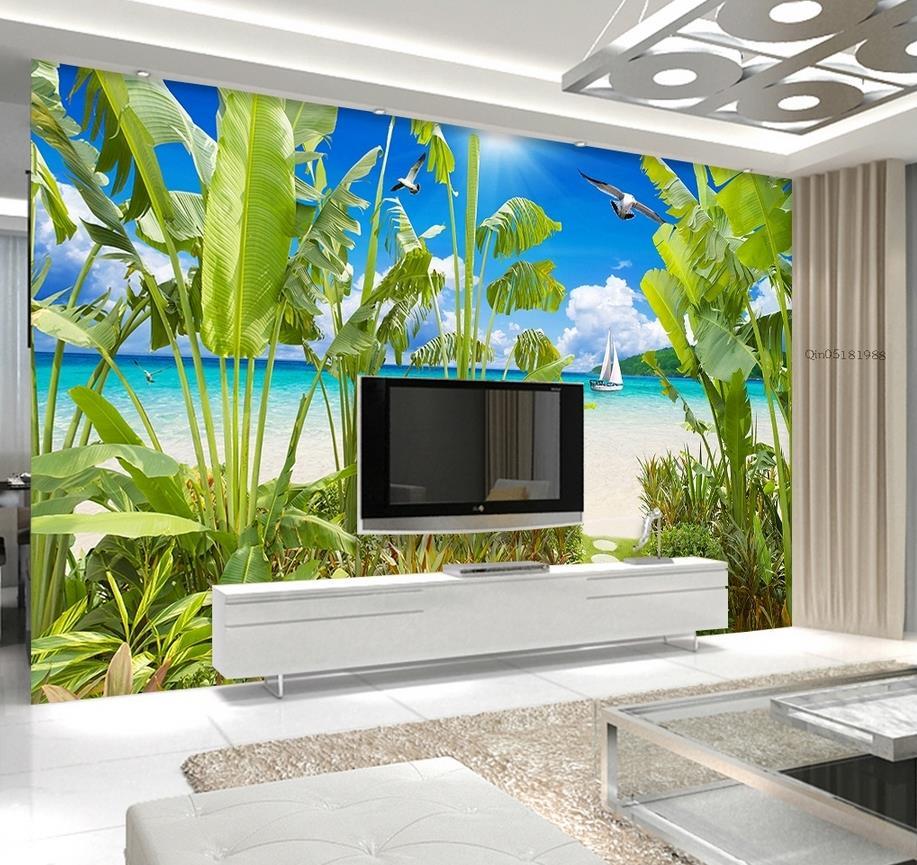 Papier peint 3d personnalisé forêt tropicale paysage côtier peinture décorative fond mur photo 3d papier peint