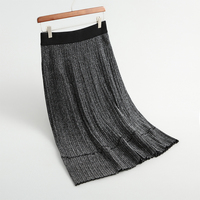 Autumn women skirts casual solid color striped knit stitching bright silk knit skirt design