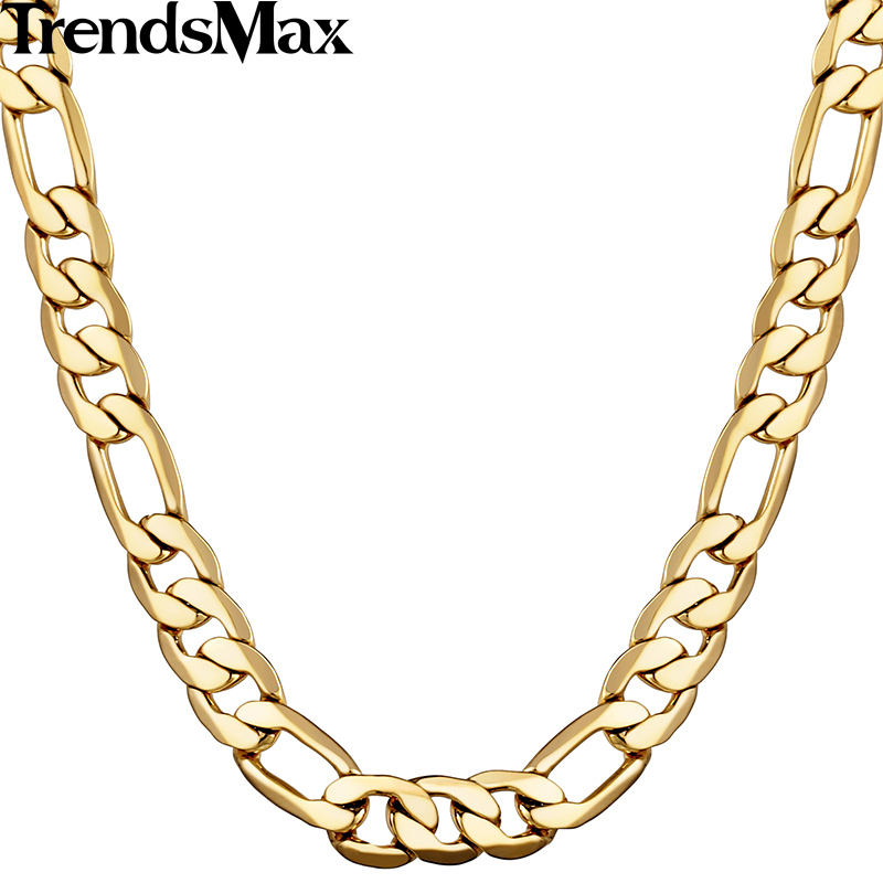 Trendsmax 5/6/9/10mm Figaro Link Chain Gold Filled Necklace s