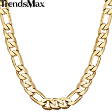 Trendsmax 5/6/9/10mm Wide Figaro Link Chain Gold Filled Necklace Men chain Women Necklace Wholesale Jewelry GNM53