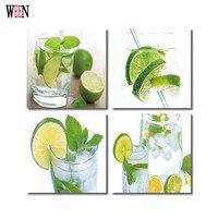 WEEN HD Fruit Wall Picture Framed Directly Hang Living Room 4Pc Green Lemon Art Tableau Peinture