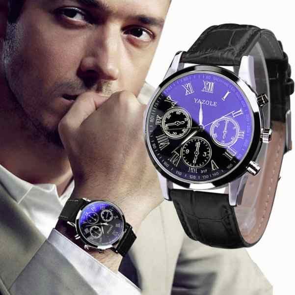 יוקרה שעוני יד אופנה עור Mens כחול Ray זכוכית קוורץ אנלוגי שעונים שעון יד relogio masculino