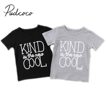 2018 Brand New Fashion Toddler Infant Child Baby Kids boys Girls Short Sleeve Letter Cotton T Shirts Tops Casual Clothes 1-6T