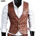Fashion Nightclub Stage Costumes Men PU Leather Vest Men Slim Fit Sleeveless Waistcoat Vest Wedding Host Clothing For Men