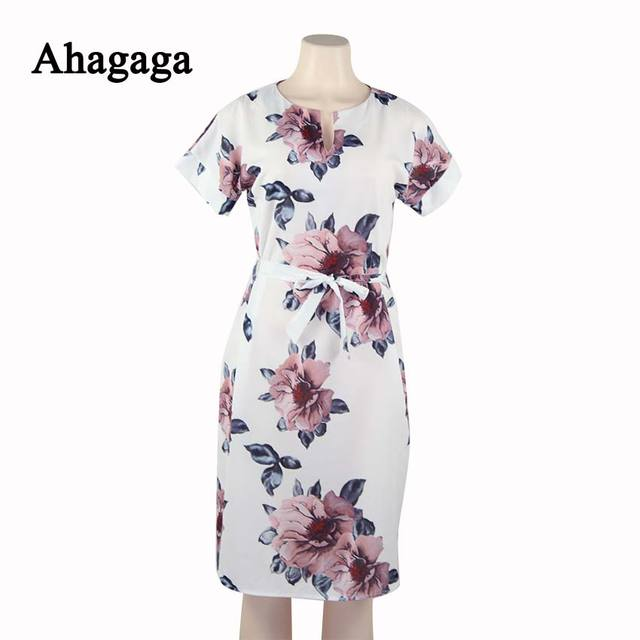 Ahagaga 2018 Summer Dress Women Fashion Print Elegant Cute Sashes O-neck Sexy Slim Sheath Dress Women Dresses Vestidos Robes 4