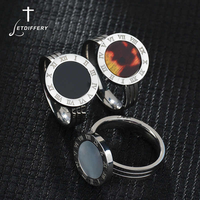 Letdiffery Titanium Steel Luxury Finger Ring Simple Wedding Couples Rings Bijouterie for Woman Gift