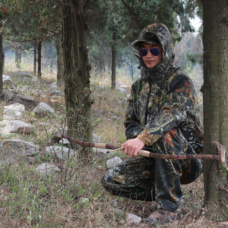 Outdoor Breathable bionic camouflage leaf ghillie Suits jacket+pants for photography hunting fishing or fabric camouflage leaf headgear