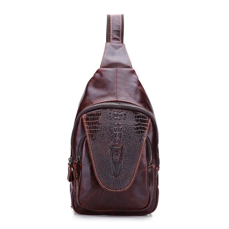 Vintage Genuine leather men bag crocodile pattern men chest bag retro man sling shoulder crossbody Bags freeshipping 2016 genuine leather man small bag vintage clutch bag crocodile pattern leather men messenger bags 7267c