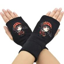 Модные мужские и женские перчатки без пальцев аниме Дата живой хлопок вязанные наручные перчатки Аксессуары косплей варежки хип-хоп