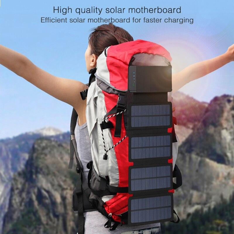 Folding Solar Charger Power Bank Solar Panel Sunpower Battery 30000mah Solar Celles Outdoors External  Solar Battery Pack