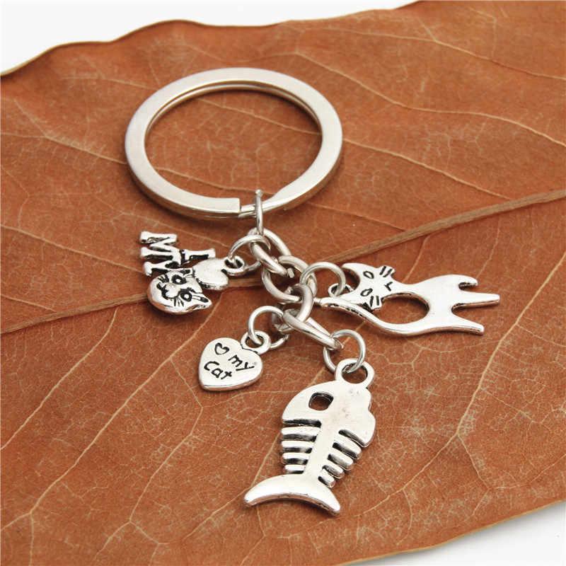 1 pc Sáng Tạo Chain Key Ring Keyring Bạc Mèo Keychain Cá Xương Quyến Rũ Mặt Dây Chuyền Quà Tặng Cho Người Yêu Mèo Người Đàn Ông Xe phụ kiện E2047
