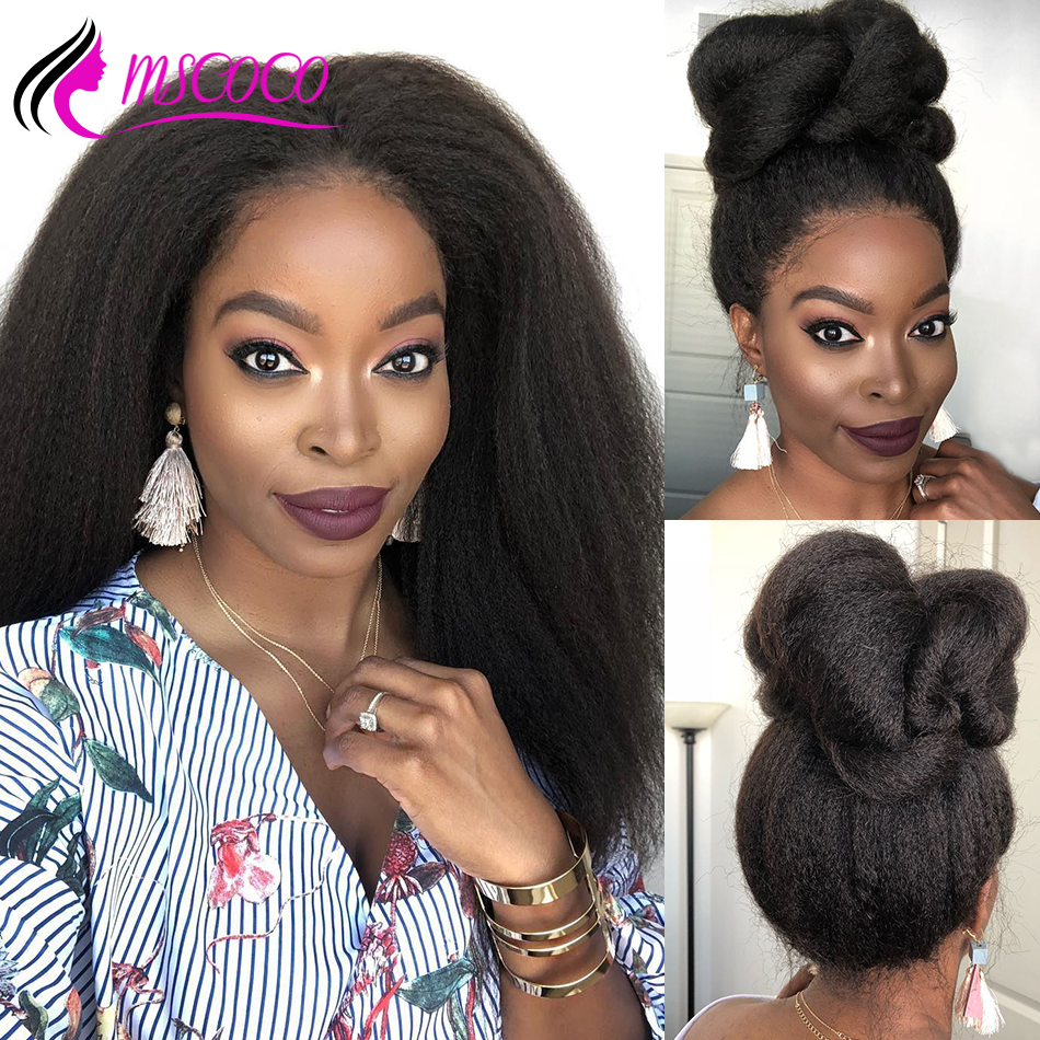 Mscoco Kinky Straight Wig Glueless Lace Front Human Hair Wigs Full End Brazilian Lace Wig 180 250 Density Yaki Human Hair Wig(China)