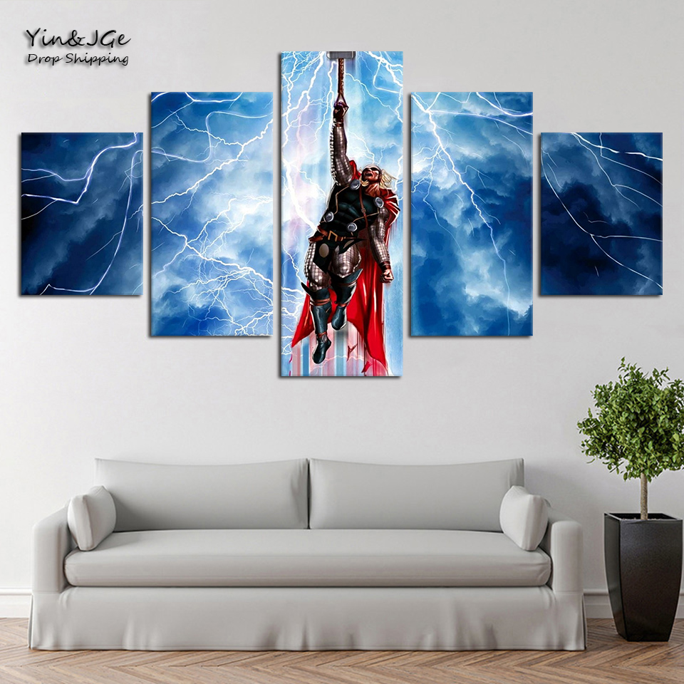 Us 5 93 40 Off Wall Art Canvas Pictures Frame 5 Pieces Viking God Of Lightning Thor Stock Painting Abstract Game Poster Home Decor Living Room In
