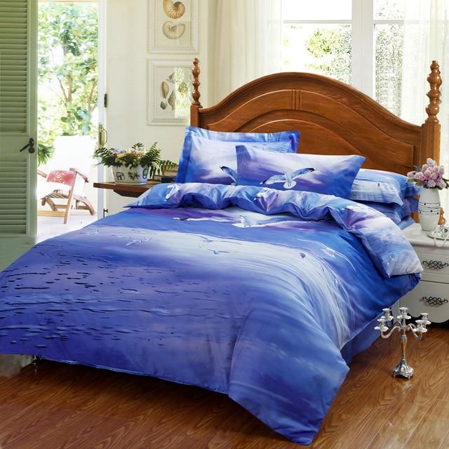 blue ocean seagull 3d bird print queen size bedding sethigh quility cotton duvet cover