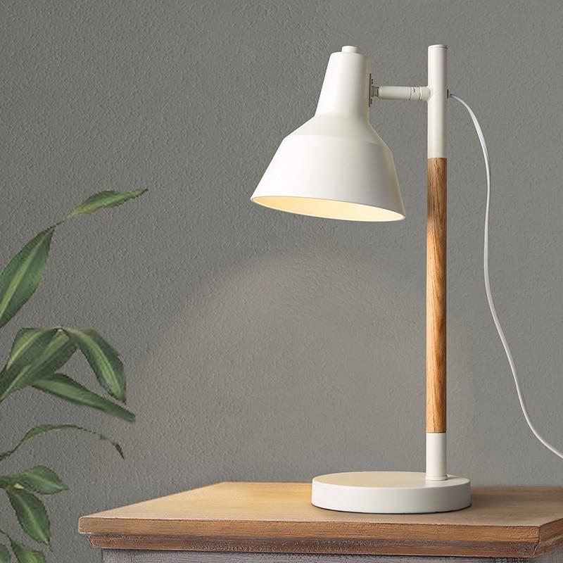 Modern Wooden Table Lamp E27 Lamp Holder 110-240V Parlor Indoor Study Desktop Bed Light ...