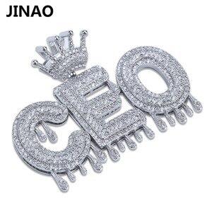 Image 3 - Nome personalizado iced para fora coroa bolha letras pingentes de corrente colares encantos masculinos zircon hip hop jóias cor prata tênis corrente
