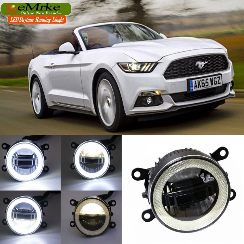 eeMrke For Ford Mustang 2015 3 in 1 LED DRL Angel Eye Fog Lamp Car Styling High Power Daytime Running Lights Accessory