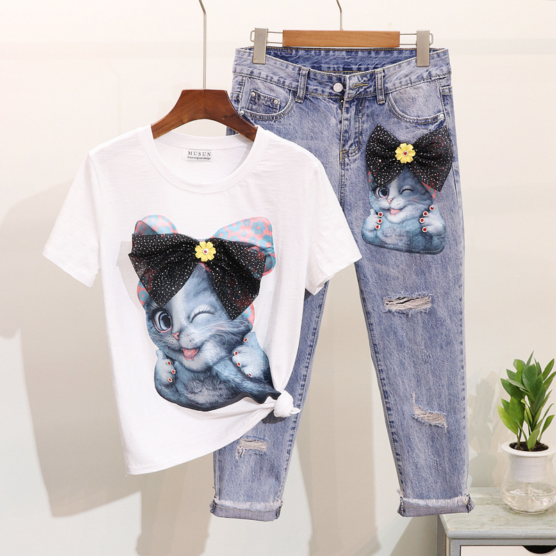 Casual 2019 Spring Women Diamond Cartoon Pattern Short Sleeve T Shirt Hole Nine Points Denim Pants