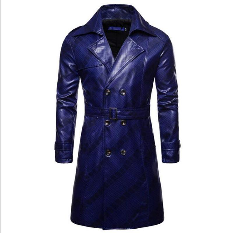 Men Trench Coat Homme  Mens New Fashion Long PU leather Trench Coat Autumn Long Jacket For Men Slim Fit Winter Warm Coat Mens 2